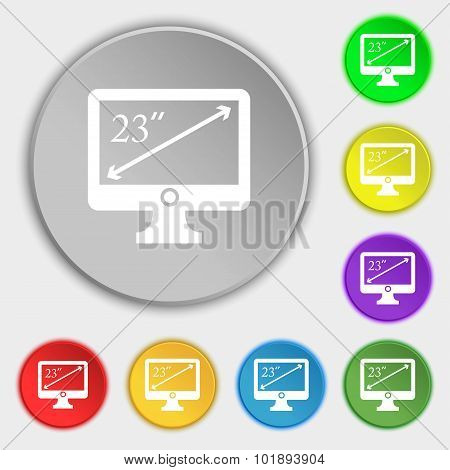 Diagonal Of The Monitor 23 Inches Icon Sign. Symbols On Eight Flat Buttons. Vector