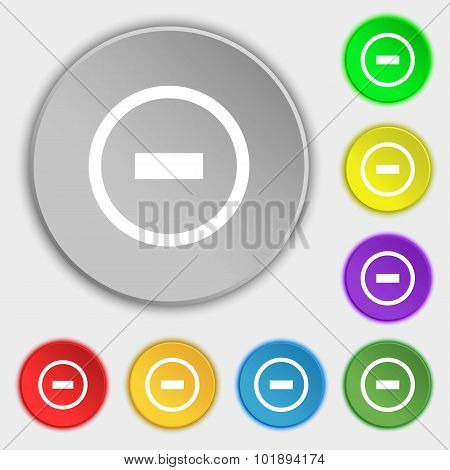 Minus Sign Icon. Negative Symbol. Zoom Out. Symbols On Eight Flat Buttons. Vector