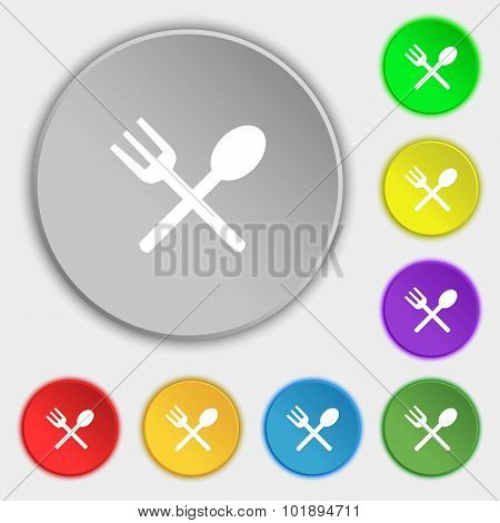 Fork And Spoon Crosswise, Cutlery, Eat Icon Sign. Symbols On Eight Flat Buttons. Vector