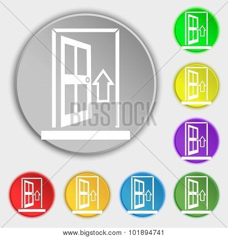 Door, Enter Or Exit Icon Sign. Symbols On Eight Flat Buttons. Vector