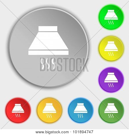 Kitchen Hood Icon Sign. Symbols On Eight Flat Buttons. Vector