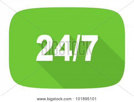 24/7 flat design modern icon with long shadow for web and mobile app