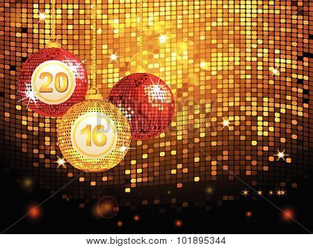 2016 Disco Baubles Over Golden Tiles Background