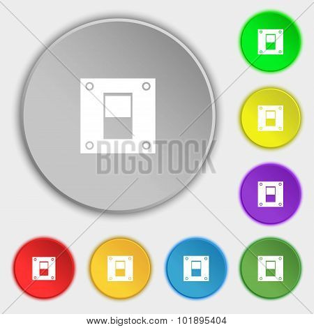 Power Switch Icon Sign. Symbols On Eight Flat Buttons. Vector