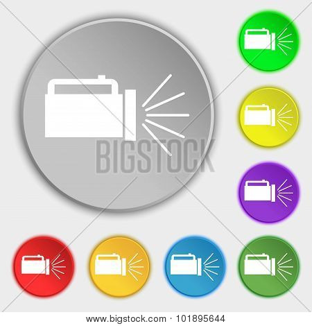 Flashlight Icon Sign. Symbols On Eight Flat Buttons. Vector