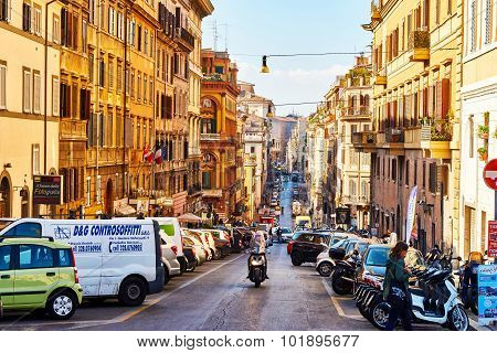 Rome, Italy - October 30: Streets Of Rome Are Full Of Traffic And People Throughout The Day In Rome,