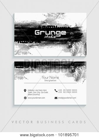 Creative horizontal business card, name card or visiting card set with grungy color splash.