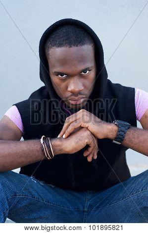 Cool Black Guy Sitting With Hood Sweatshirt