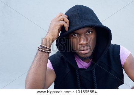 Cool African American Guy With Hood Sweatshirt