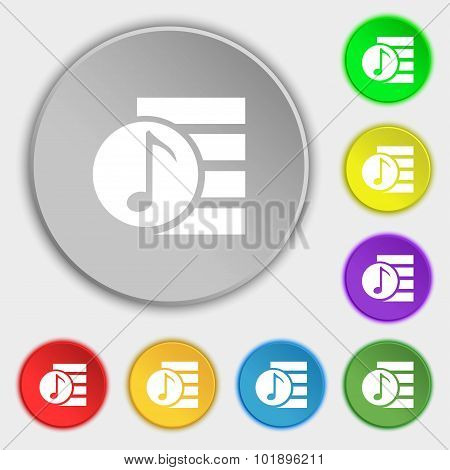 Audio, Mp3 File Icon Sign. Symbols On Eight Flat Buttons. Vector