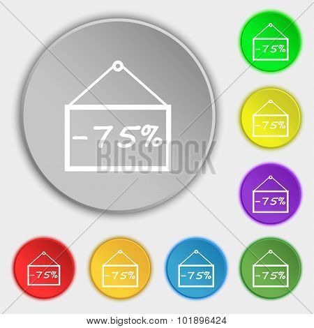 75 Discount Icon Sign. Symbols On Eight Flat Buttons. Vector