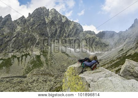 Dynamic Rope, Helmet, Carabiners, Climbing Harness And Descender On The Rock In Tatra Valley
