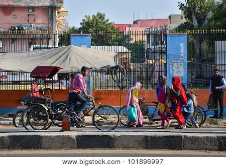 Jaipur, India - December 30, 2014: Indian People On Street Of The Pink City In Jaipur