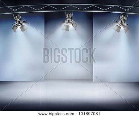 Illuminated wall in art gallery. Vector illustration.