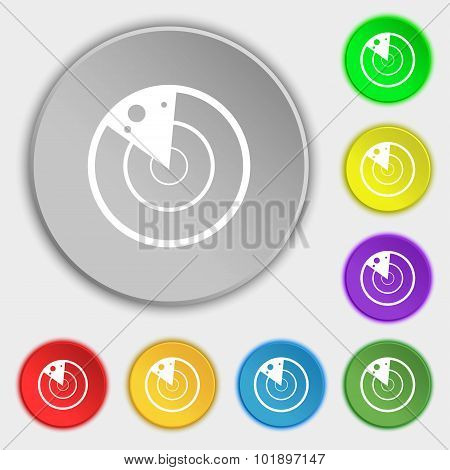 Radar Icon Sign. Symbols On Eight Flat Buttons. Vector
