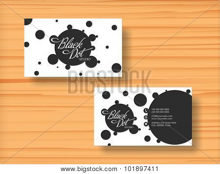 Creative professional business card, visiting card or name card set on wooden background.