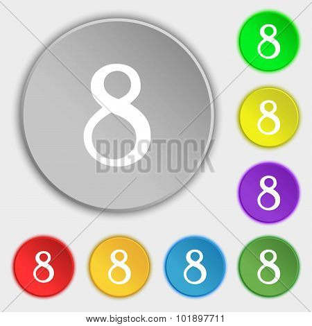 Number Eight Icon Sign. Symbols On Eight Flat Buttons. Vector