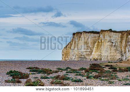 Cliffs and beach with overcast sky