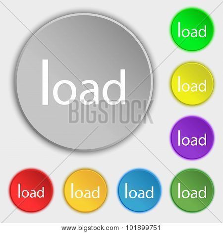 Download Now Icon. Load Symbol. Symbols On Eight Flat Buttons. Vector