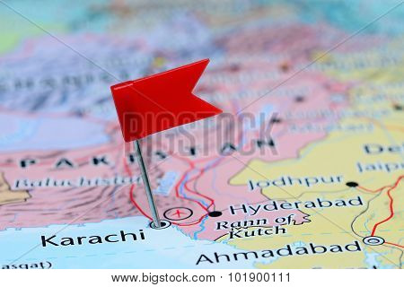 Karachi pinned on a map of Asia