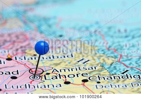 Lahore pinned on a map of Asia