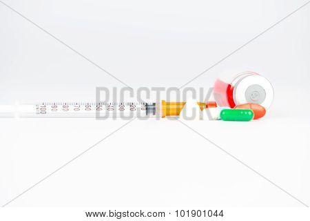 Injection Syringe And Medicine Background