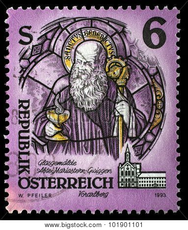 AUSTRIA - CIRCA 1993: A stamp printed in Austria from the Monasteries and Abbeys issue shows St. Benedict of Nursia (glass painting), Mariastern Abbey, Gwiggen, circa 1993.