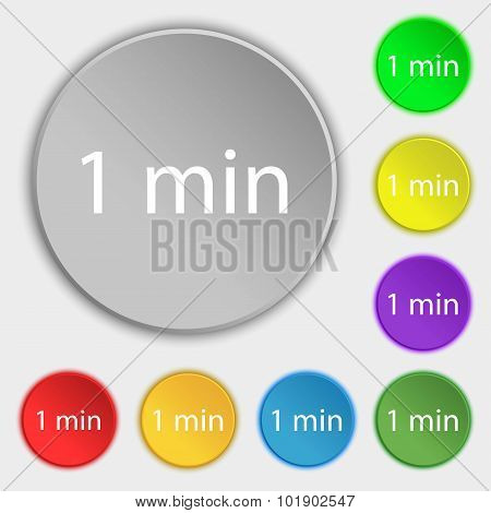 One Minutes Sign Icon. Symbols On Eight Flat Buttons. Vector