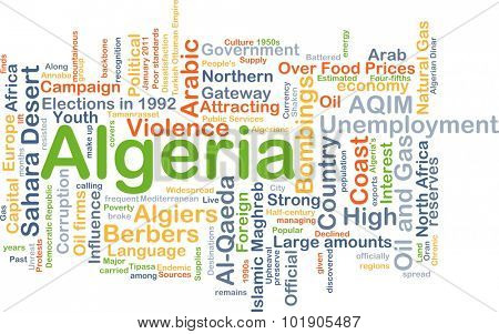 Background concept wordcloud illustration of Algeria