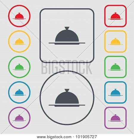 Food Platter Serving Sign Icon. Table Setting In Restaurant Symbol. Symbols On The Round And Square