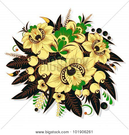 Stock Vector Traditional Russian Flower.