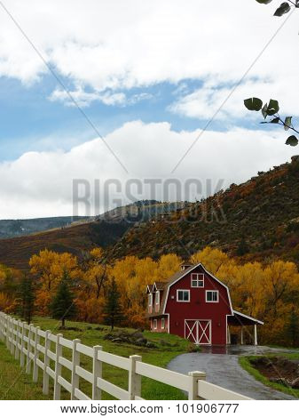 Fall Colors and a Red Cabin