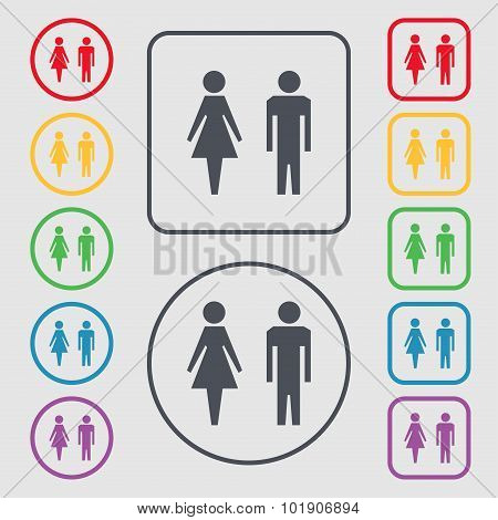 Wc Sign Icon. Toilet Symbol. Male And Female Toilet. Symbols On The Round And Square Buttons With Fr