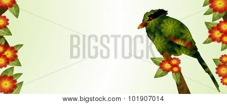 Green Magpie and Flowers
