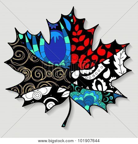 Stock Single Isolated Maple Leaf.patchwork Design