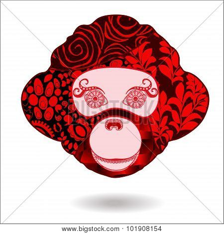 Stock Vector Isolated Monkey Head. Patchwork Design. The Symbol Of The Year