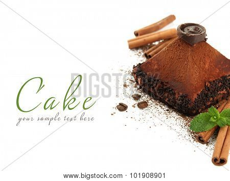 Delicious chocolate cake isolated on white