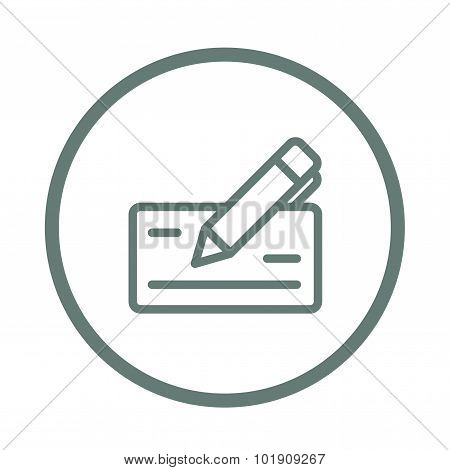 Signing Bank Check Icon. Finance Icon. Economic Concept Flat Style Design Icon.