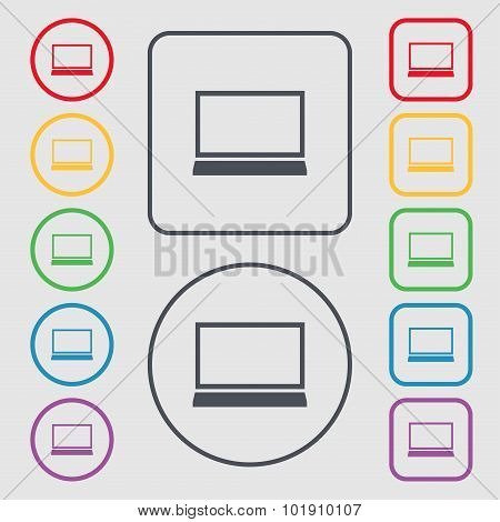 Laptop Sign Icon. Notebook Pc Symbol. Symbols On The Round And Square Buttons With Frame. Vector