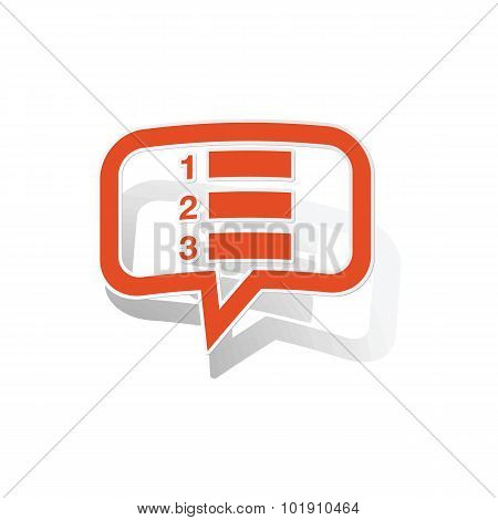 Numbered list message sticker, orange