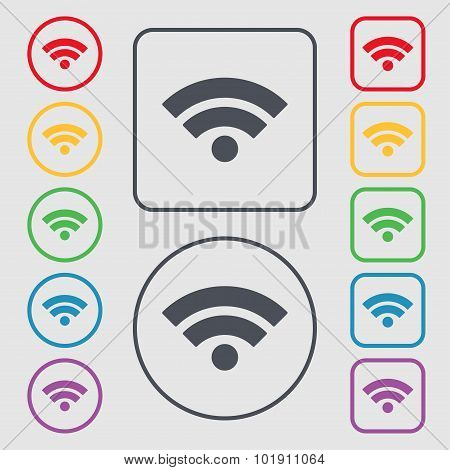Wifi Sign. Wi-fi Symbol. Wireless Network Icon. Wifi Zone. Symbols On The Round And Square Buttons W