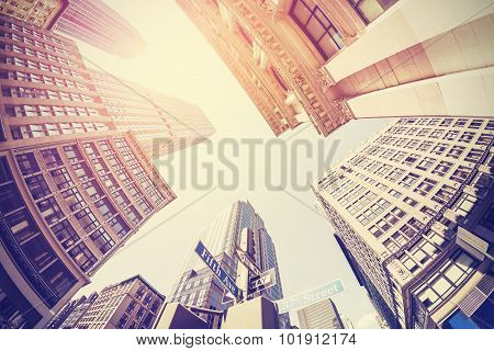 Vintage Filtered Fisheye Picture Of Manhattan, Looking Up, Nyc.