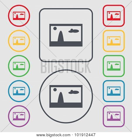 File Jpg Sign Icon. Download Image File Symbol. Symbols On The Round And Square Buttons With Frame.
