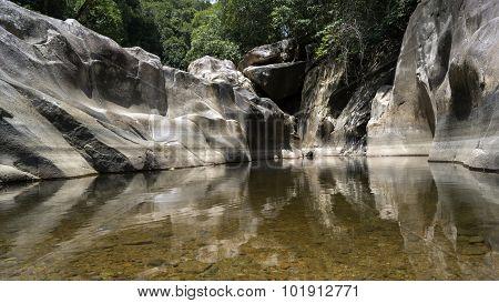 Lake at the waterfall Ba Ho
