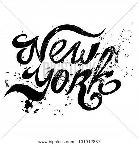 Conceptual handwritten phrase New York City on a white background. Vector illustration. EPS