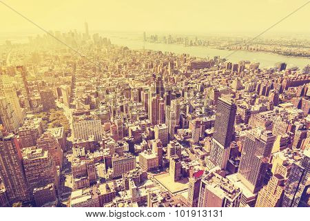 Vintage Filtered Picture Of Sunset Over Manhattan, Usa.