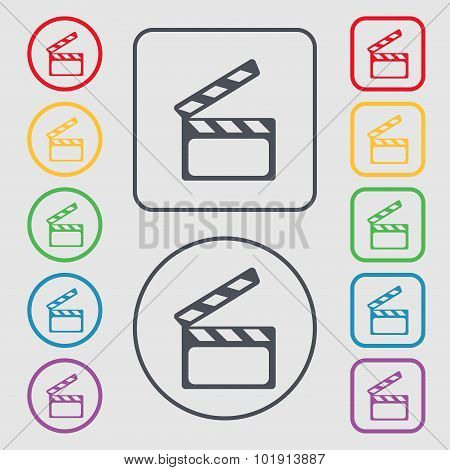 Cinema Clapper  Sign Icon. Video Camera Symbol. Symbols On The Round And Square Buttons With Frame.