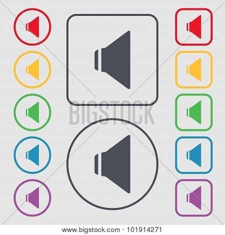 Speaker Volume Sign Icon. Sound Symbol. Symbols On The Round And Square Buttons With Frame. Vector