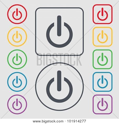 Power Sign Icon. Switch Symbol. Symbols On The Round And Square Buttons With Frame. Vector