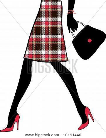 Mulher Sexy pernas com bolsa. Comercial e empresarial. Ilustração vetorial